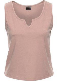Топ с разрезом (2 шт.) (винтажно-розовый + минерально-синий) Bonprix
