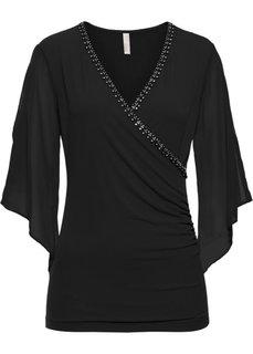 Блузка с блестящими камешками (черный) Bonprix