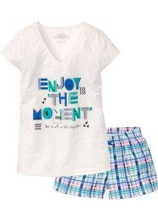 Пижама с шортами (кремовый с принтом) Bonprix