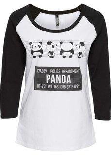Футболка с принтом панды (белый/черный) Bonprix