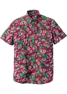 Рубашка Slim Fit с коротким рукавом (бордовый с рисунком) Bonprix