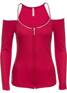 Трикотажная футболка на молнии (красный) Bonprix