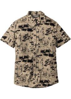 Рубашка Slim Fit с коротким рукавом (светло-оливковый) Bonprix