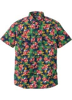 Рубашка Slim Fit с коротким рукавом (темно-синий с рисунком) Bonprix