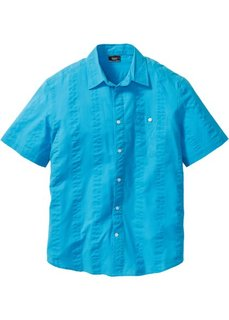 Рубашка из ткани сирсакер, стандартного прямого покроя regular fit (бирюзовый) Bonprix