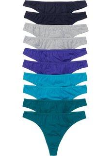 Трусики-стринги (10 шт.) (синий + бирюзовый + светло-серый меланж) Bonprix