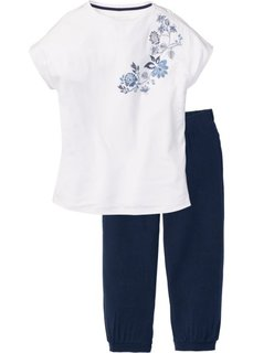 Пижама-капри (белый/синий с рисунком) Bonprix