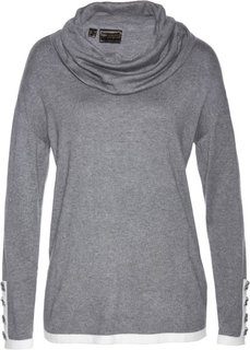 Пуловер (серый меланж/белый) Bonprix