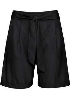Шорты с текстильным ремнем (черный) Bonprix
