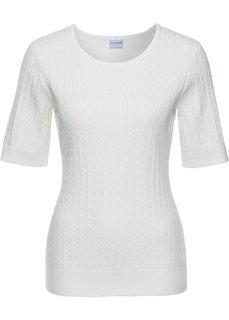 Пуловер с узором в косичку и коротким рукавом (цвет белой шерсти) Bonprix