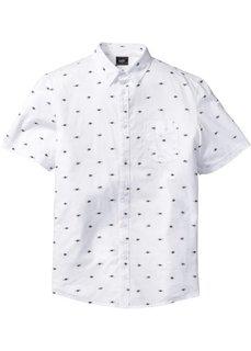 Рубашка Regular Fit с коротким рукавом и мелким узором (белый с рисунком) Bonprix