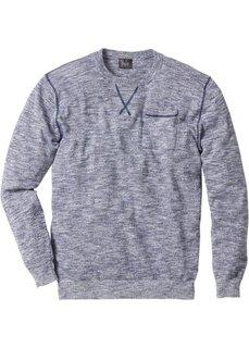 Пуловер Regular Fit (индиго/белый меланж) Bonprix