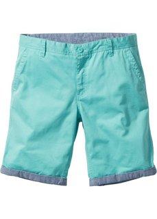 Бермуды-чиносы с отворотами Regular Fit (зеленый) Bonprix