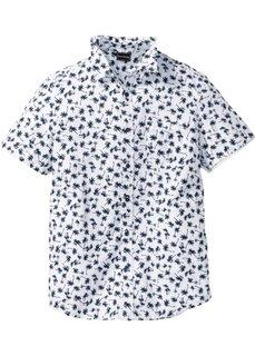 Рубашка Slim Fit с коротким рукавом (белый с рисунком) Bonprix