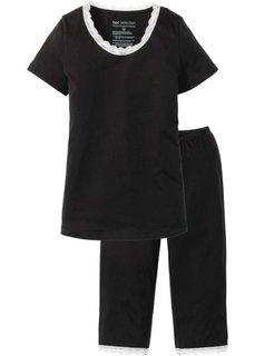 Пижама-капри из органического хлопка (черный/белый) Bonprix