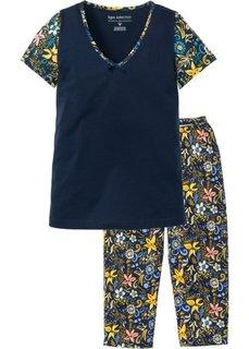 Пижама-капри с коротким рукавом (темно-синий с рисунком) Bonprix