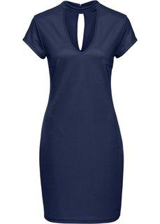 Трикотажное платье с чокером (темно-синий) Bonprix