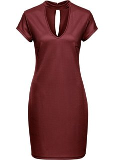 Трикотажное платье с чокером (красный каштан) Bonprix