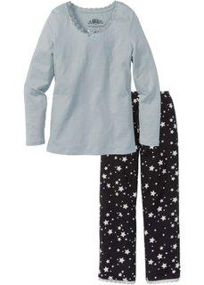 Пижама (черный/серебристо-серый с рисунком) Bonprix