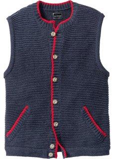 Вязаный жилет Regular Fit в традиционном стиле (темно-синий меланж) Bonprix