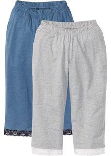Брюки-капри (синий джинсовый + светло-серый меланж) Bonprix