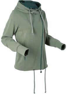 Трикотажная куртка с длинным рукавом (оливковый меланж) Bonprix