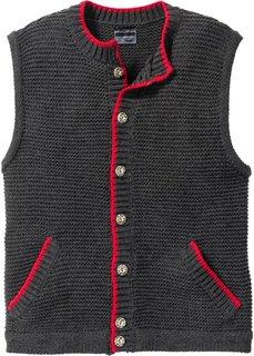Вязаный жилет Regular Fit в традиционном стиле (антрацитовый меланж) Bonprix
