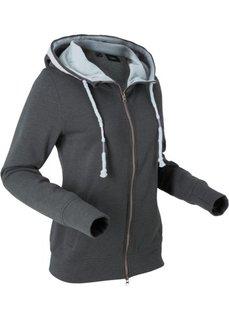 Трикотажная куртка с вышивкой и длинным рукавом (шиферно-серый меланж) Bonprix