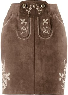 Кожаная юбка с вышивками (темно-коричневый) Bonprix