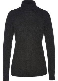 Пуловер с высоким воротником (антрацитовый меланж) Bonprix