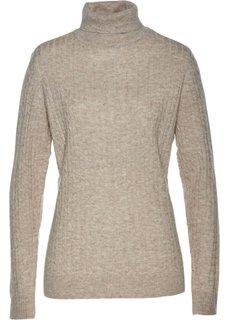 Пуловер с высоким воротником (кремовый меланж) Bonprix