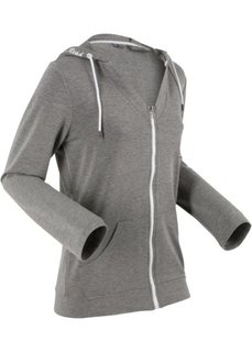 Легкая трикотажная куртка с длинным рукавом (серый меланж) Bonprix