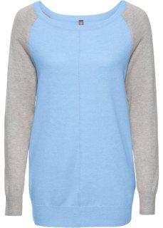 Двухцветный пуловер (нежно-голубой меланж/светло-серый меланж) Bonprix