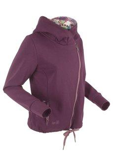Трикотажная куртка с асимметричной застежкой-молнией (бузиничный с рисунком) Bonprix