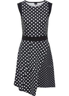 Трикотажное платье в горошек (черный/белый в горошек) Bonprix