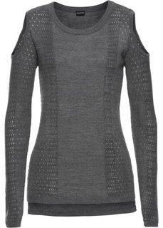 Вязаный пуловер с вырезами (серый меланж) Bonprix