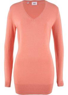 Длинный пуловер тонкой вязки (персиковый) Bonprix