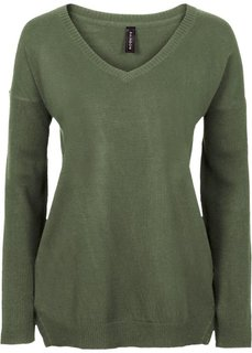 Пуловер с глубоким V-образным вырезом (оливковый) Bonprix