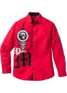 Рубашка Slim Fit с длинным рукавом (красный) Bonprix