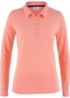Футболка-поло с длинным рукавом (лососево-розовый) Bonprix