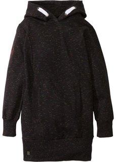 Трикотажное платье с модным воротником (черный/разноцветный меланж) Bonprix