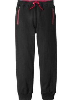 Трикотажные брюки с карманами на молнии (черный) Bonprix