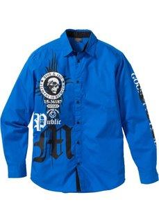 Рубашка Slim Fit с длинным рукавом (лазурный) Bonprix