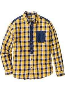 Клетчатая рубашка Regular Fit с длинным рукавом (шафранно-желтый/синий в клетку) Bonprix