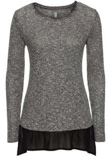 Вязаная футболка с шифоновой вставкой (серый меланж/черный) Bonprix