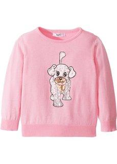 Пуловер с пайетками (меланж розовой пудры) Bonprix