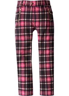 Расклешенные стрейчевые брюки с декоративными карманами (черный/красная ягода в клетку) Bonprix
