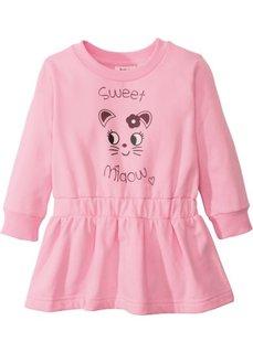Трикотажное платье (меланж розовой пудры с рисунком) Bonprix