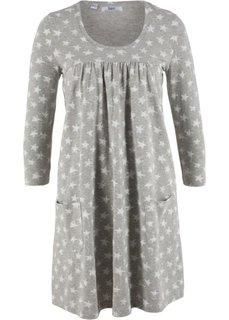 Трикотажное платье с рукавами 3/4 (светло-серый меланж с узором) Bonprix