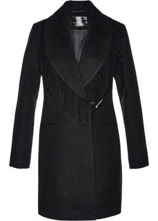 Пальто с бахромой (черный) Bonprix
